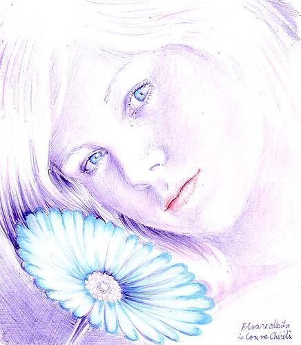 Floare albastra - Fata inocenta din poeziile lui Mihai Eminescu cu chipul ei curat nevinovat desen