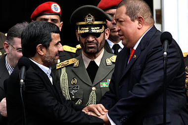Islamic Republic of Iran President Mahmoud Ahmadinejad being greeted by Venezuelan Bolivarian President Hugo Chavez. The two countries are enhancing their political and economic ties. by Pan-African News Wire File Photos