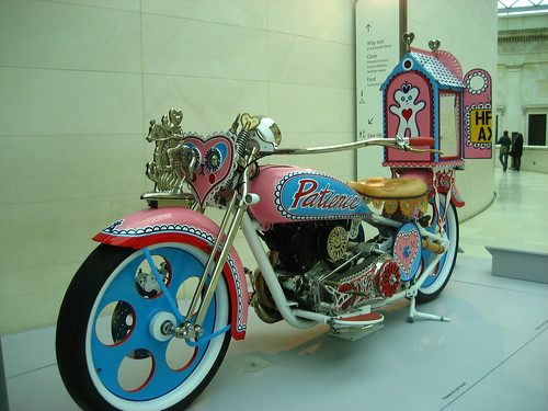 Grayson Perry's motorbike, with Alan Measles stand-in at the back