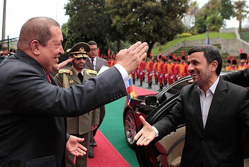 Presidents Hugo Chavez and Mahmoud Ahmadinejad during the Iranian president's visit to Venezuela. The two nations are strengthening relations. by Pan-African News Wire File Photos