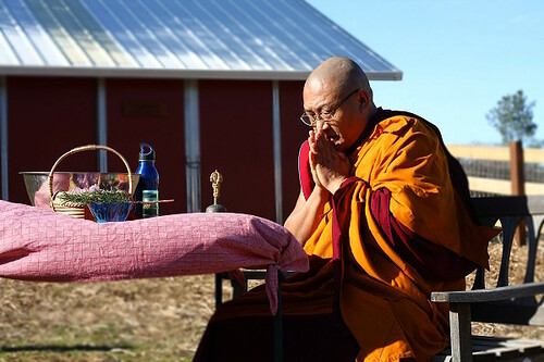 Venerable Geshe Phelgye blessing land
