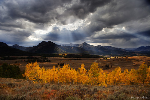 autumn yellow clouds idaho aspen godrays sawtoothmountains highway75 neargalenasummit