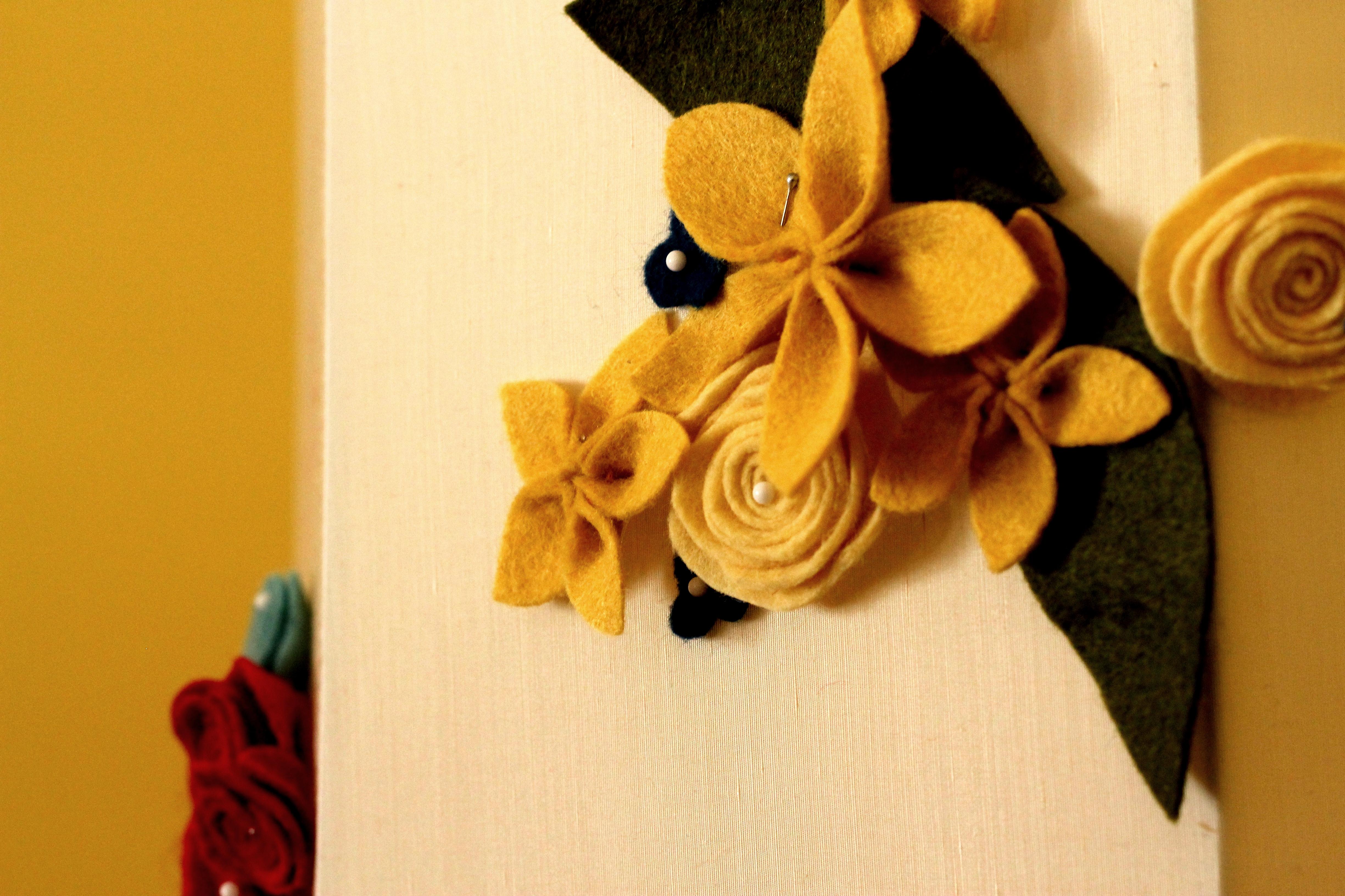 felt flower lampshade makeover