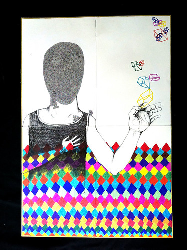 An illustration of a figure in a tank-top drawn in black and white emerging out of a colorful, diamond and geometric design. They hold up their hand to touch colorful, cubic shapes