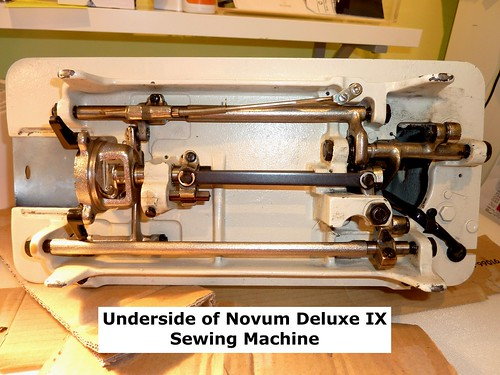 Underside of the sewing machine