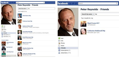Other MPs with Peter Reynolds as Facebook friend
