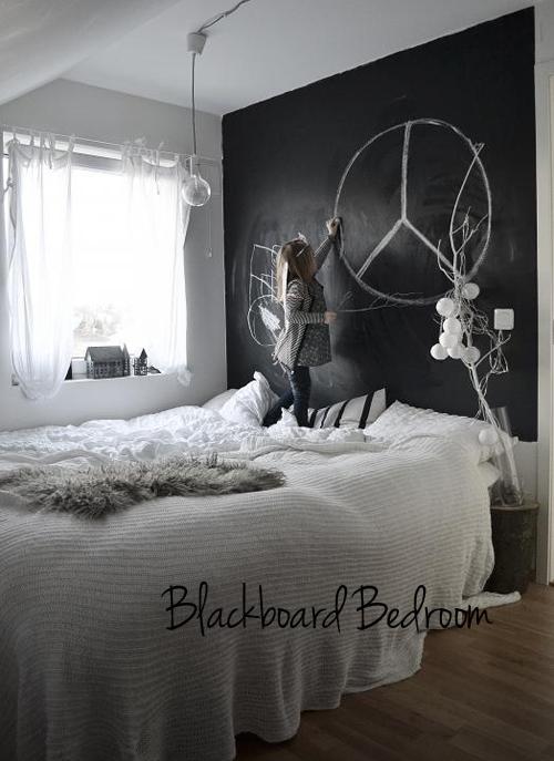 Chalkboard paint wall in bedroom the style files for Chalkboard paint ideas for bedroom
