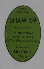 Photo of Sham '69 green plaque