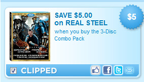 Real Steel,  The 3-disc Combo Pack Coupon