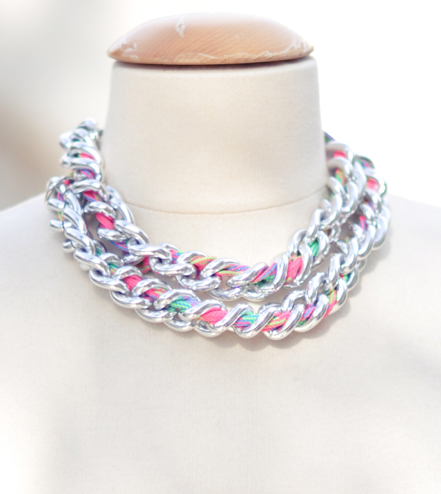 Neon chain necklace- shoe lace DIY