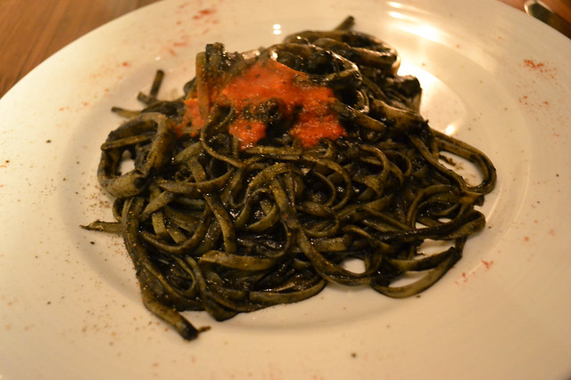Squid Ink Pasta with Squid Rings, Mondo Mio