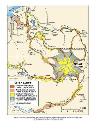 Volcano Hazard Maps Pacific Northwest Seismic Network - Mt rainier on us map