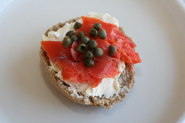 Whole Wheat Sourdough Bagel with Lox and Cream Cheese