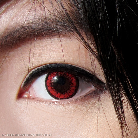 Here s another look at the lenses when light isn t shining directly on    Dark Red Eye Contacts