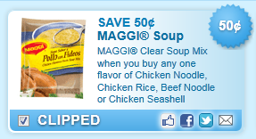 Maggi Clear Soup Mix When You Buy Any One Flavor Of Chicken Noodle, Chicken Rice, Beef Noodle Or Chicken Seashell Coupon