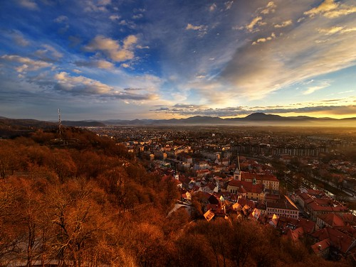 old trees houses light sunset tower castle clouds view south center hills vista ljubljana blocks outlook marsh marshes krim trnovo barje ljubljansko prule