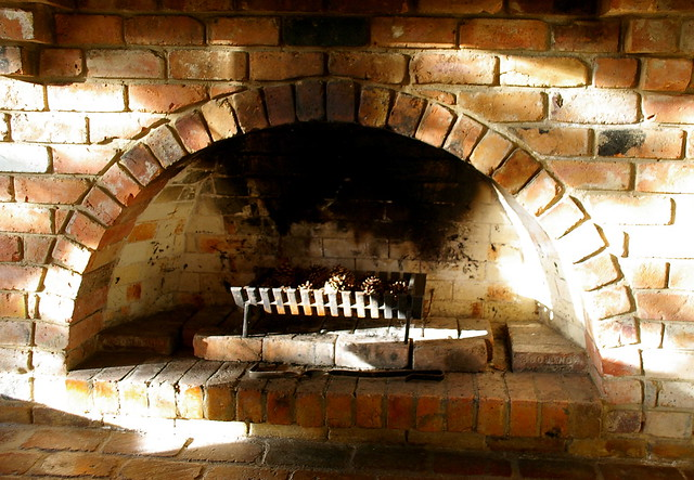 morning light on a cold fireplace