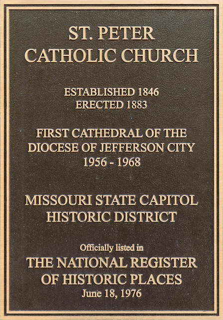 Saint Peter Roman Catholic Church, in Jefferson City, Missouri, USA - historical plaque