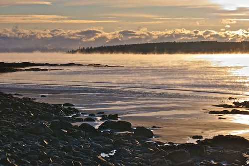 Beach with Sea Smoke by Broot - Thanks for 130,000 views!