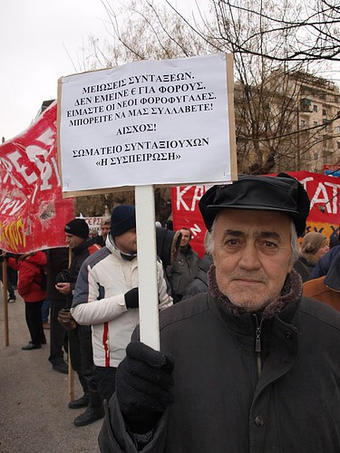 Pensioner protesting - Thessaloniki, Greece by Teacher Dude's BBQ