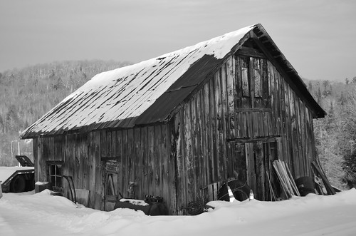 winter barn landscape vermont