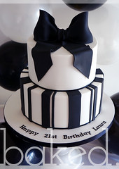 Bow & Stripes Birthday Cake