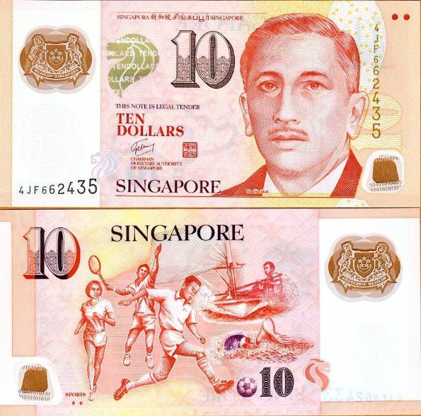 10 Dolárov Singapúr 2013, polymer, Pick 48
