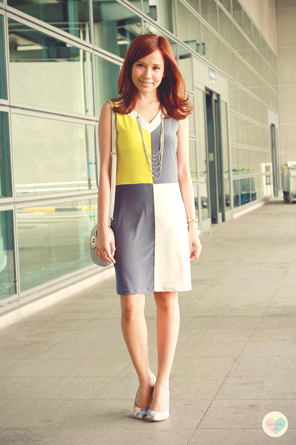 love chic tumblr lovechic asian fashion blog shai lagarde shailagarde style fashion blogger travel naia airport incheon cebu pacific flight yellow lime avocado green grey colorblocking dress cole vintage summer corporate forever21 heels floral korea 2