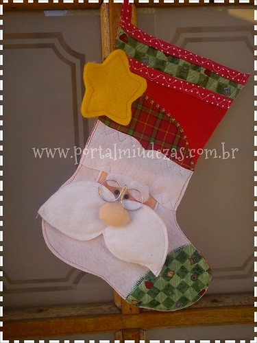 Botinha De Papai Noel Bigodudo by miudezas_miudezas