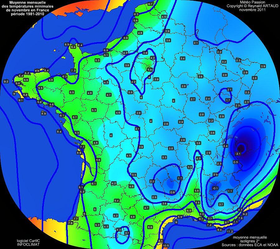Moyennes mensuelles des températures minimales pour le mois de novembre en France sur la période 1981-2010