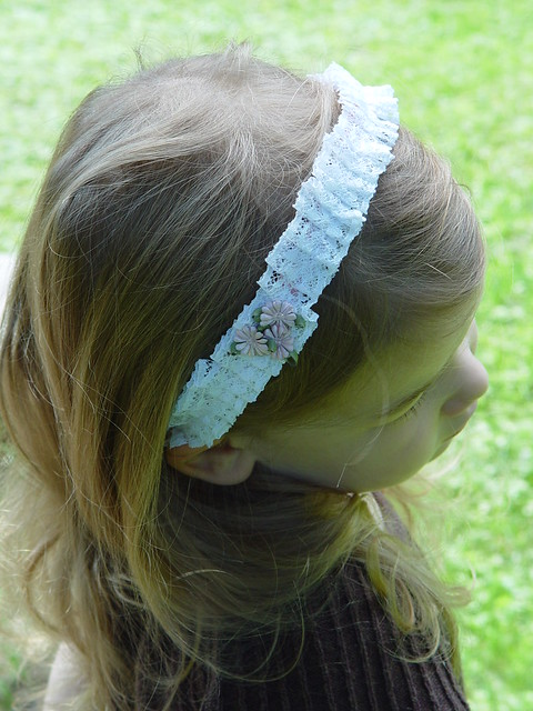 pleated lace headband, view 6