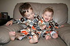 Ezra and Avi wearing matching pajamas