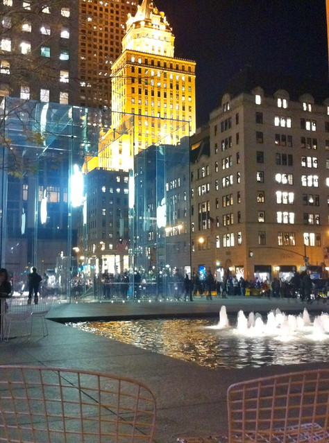 59th Street & 5th Avenue, Apple Cube and Fountain, GE Building, New York