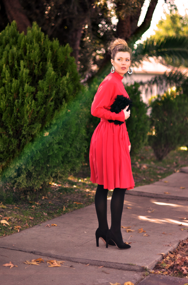 red and black - red dress - vintage lagerfeld dress