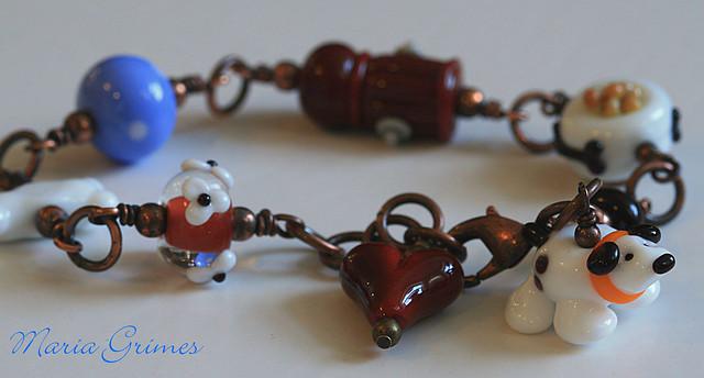 Lampwork Dog Bracelet