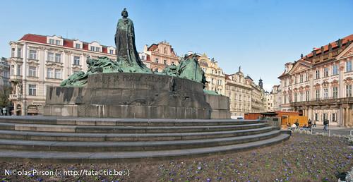 Statue of Jan Hus monument.