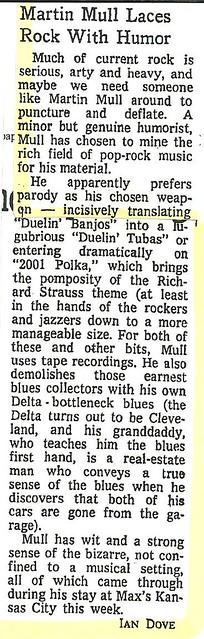 07-20-73 NYT Review - Martin Mull @ Max's Kansas City