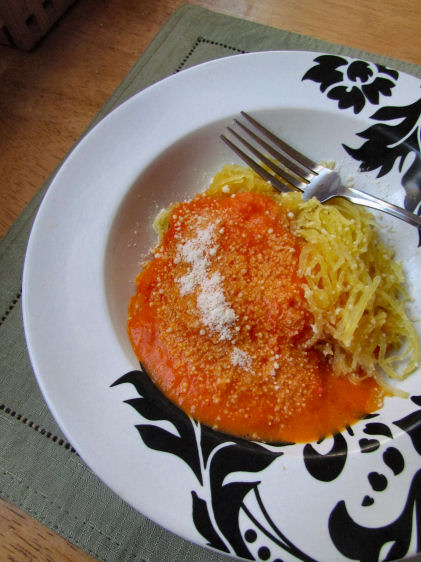 Red Pepper Sauce with Spaghetti Squash
