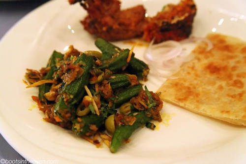 Okra (Bhindi) with olives and ginger