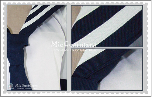 White And Deep Blue School Uniform_2