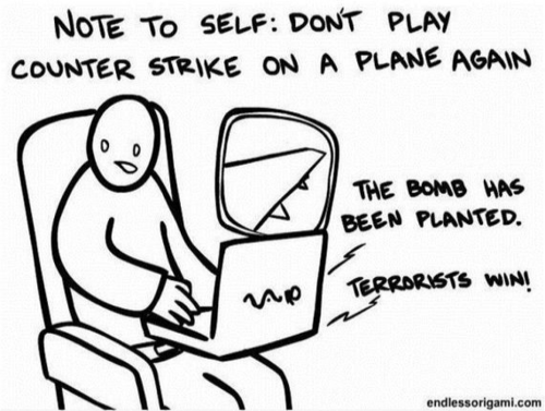 No volver a jugan al Counter Strike en un avión