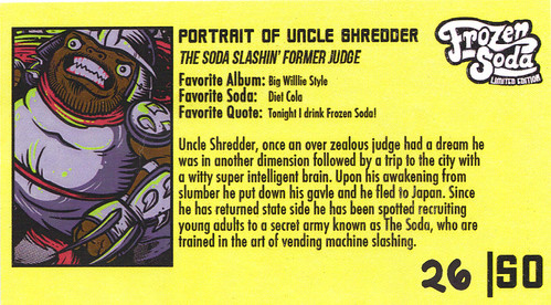 "FROZEN SODA 'LIMITED EDITION' :: ""Uncle Shredder"" tee { 26 of 50 } vi / ..bio card (( 2011 ))"