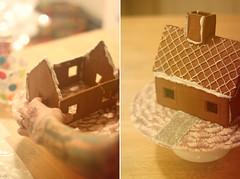gingerbread house, art, food, dessert,