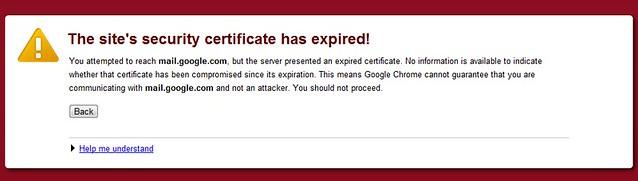 Gmail certificate error