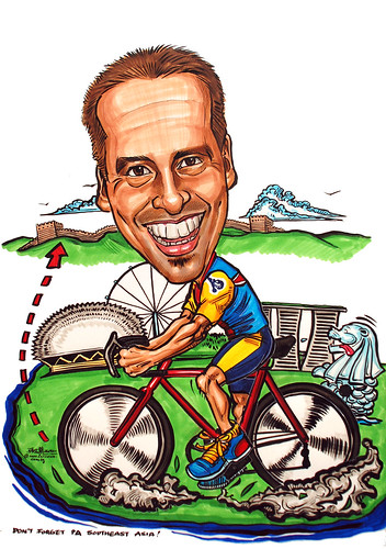 cyclist caricature for Panalpina World Transport (S) Pte Ltd
