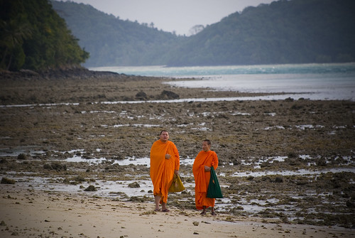 Monks on the beach at Cape Panwa, Phuket