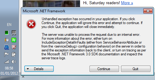 .Net error message