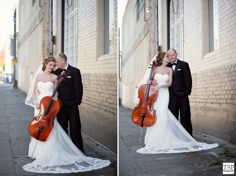 Bride and Groom in Alley with Cello