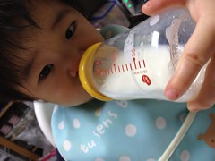 今日の片手哺乳瓶飲みとらちゃん(2012/1/3)