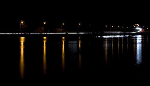 road longexposure night reflections lights trollhättan